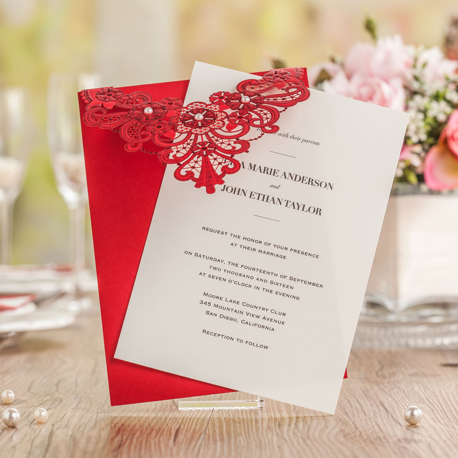 Asian Themed Red Color Wedding Invitation Card Laser Cut with ribbon ...