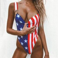 Лидер продаж, купальники для женщин, американский флаг, свободный, цельнокроеный, пляжный купальник для девушек, монокини, купальник для жен... 1