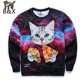 2015 New Galaxy 3d sweatshirts for men asual hoodies funny print stars night cute cat eating Pizza  hoodies