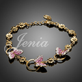 Jenia Hot Sale Elegant Charms Gold Plated Austrian Crystal Pave Butterfly Link Bracelets for Women XH056