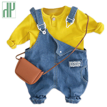 Children's clothing girl long-sleeved T-shirt+Jeans Denim overalls jeans Pants casual Kids girls clothing for boys Outfit hot sale kids cartoon boys and girls long sleeved t shirt casual clothing gray kitty pink black free shipping available