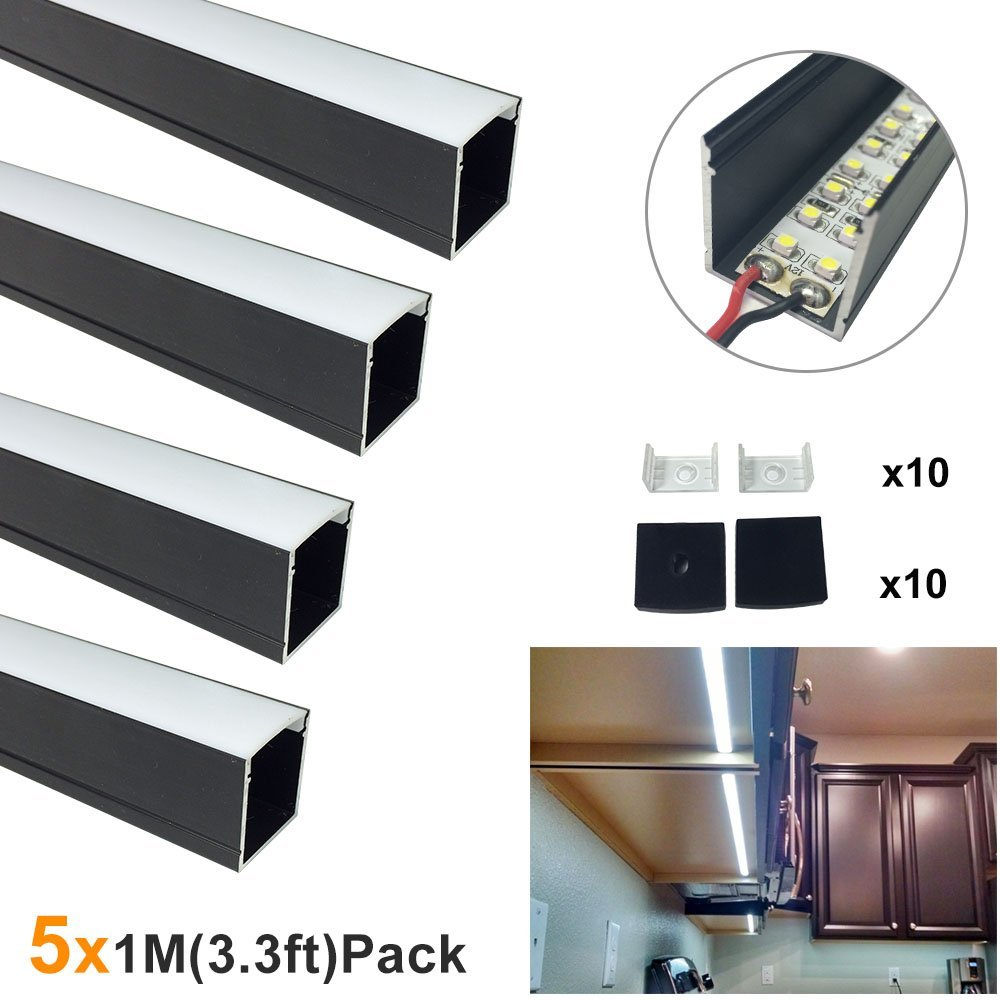 5sets / lot 5x1M (3.3ft) Svart U-form 12mm Aluminium LED-kanal System för LED Strip Light Aluminium LED Profile-U06B1M5