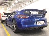 Araba Aksesuarları FRP Fiber Cam GT4 Stil Arka GT Kanat Için Fit 2014-2016 Cayman Boxster 981 Bagaj Spoiler
