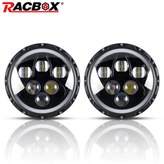 """RACBOX 80W 7"""" Inch Round With CREE LED Chips LED Headlight Kit H4 H13 High Low Beam For Lada Jeep Wrangler JK 2009-2015 Headlamp"""