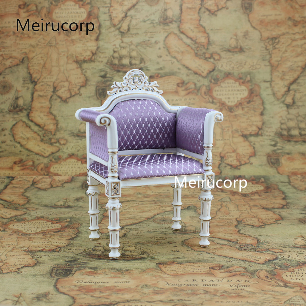 Dolls Furniture 1:6 scale Luxuriant Handmade white Chair flat cheasted dolls