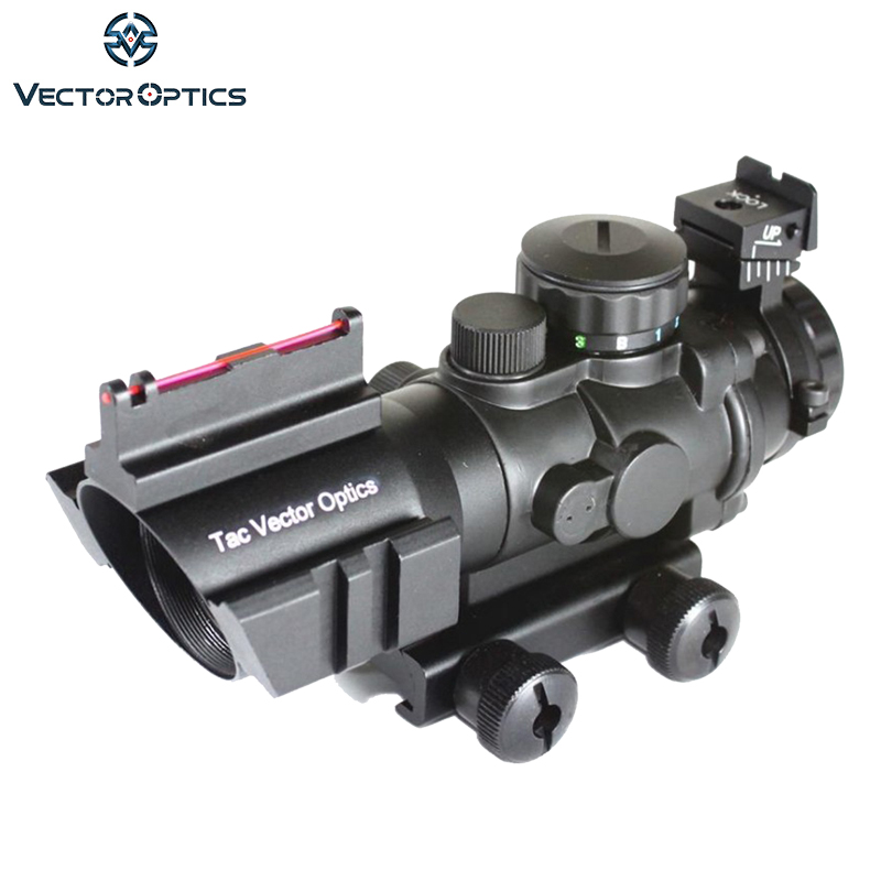 Tactical Vector Optics 4x32 Compact Rifle Scope Weapon ACOG .223 Gun Sight 3-Colour Illu ...