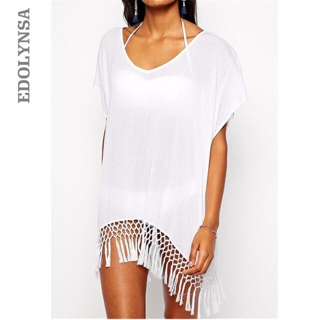 2018 Summer Sexy Beach Dress With Tassels Pareo Beachwear Tunic White Chiffon Sarong Swimsuit Dress Swimwear #Q10