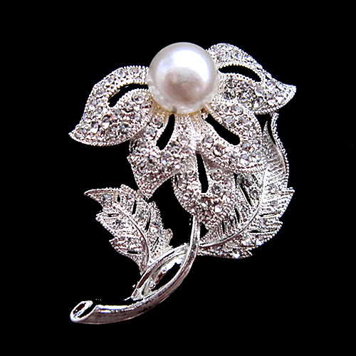 Sparkly Silver Plated Clear CZ Rhinestone Crystal Diamante Flower Bouquet Pin Brooches for Wedding or Party