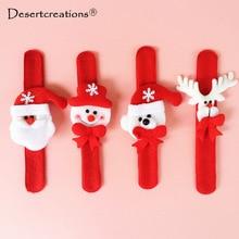 Рождественский похлопывая круг часы-браслет Рождество Детский подарок Санта Клаус Снеговик Олень Новый Год Вечерние игрушки запястье украшения