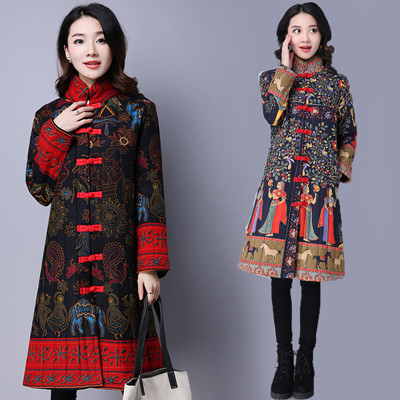 Folk Style Thick Cotton Linen Printing Autumn Winter New Long Sleeve Stand Collar A-line Coat Womens Winter Jackets Plus Size 2016 new mori girl national trend loose plus size with a hood denim autumn and winter women medium long plus cotton thick vest