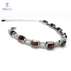 Image 1 - TBJ,925 en argent sterling éblouissant 5ct Mozambique rouge grenat haute qualité Bracelet bijoux fins pour les femmes avec boîte à bijoux