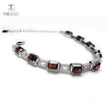 TBJ, Plata de Ley 925 deslumbrante, 5ct, granate rojo de Mozambique, pulsera de alta calidad, joyería fina para mujeres con caja de joyería