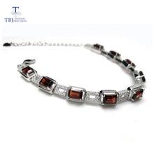 Tbj, 925 Sterling Zilver Dazzling 5ct Mozambique Rode Granaat Hoge Kwaliteit Armband Fijne Sieraden Voor Vrouwen Met Sieraden Doos