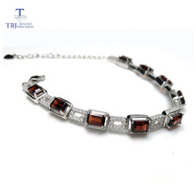 Tbj, 925 prata esterlina deslumbrante 5ct moçambique garnet vermelho pulseira de alta qualidade jóias finas para mulher com caixa de jóias