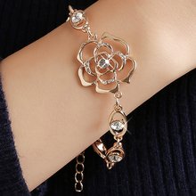 Hot 1pc 18K Gold Filled Austrian Crystal Hollow Charming Rose Flower Chain Bracelet Womens Jewelry Wholesale