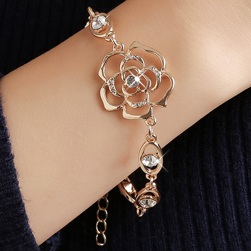 MISANANRYNE Hot 1pc Gold Color Austrian Crystal Hollow Charming Rose Flower Chain Bracelet For Women Jewelry Wholesale