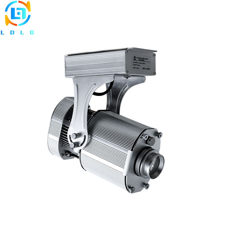 Waterproof Silver Advertising 80W Rotary and Static Images LED Logo Gobo Projector 10000lm LEDCustom Gobo Company Logo Projector