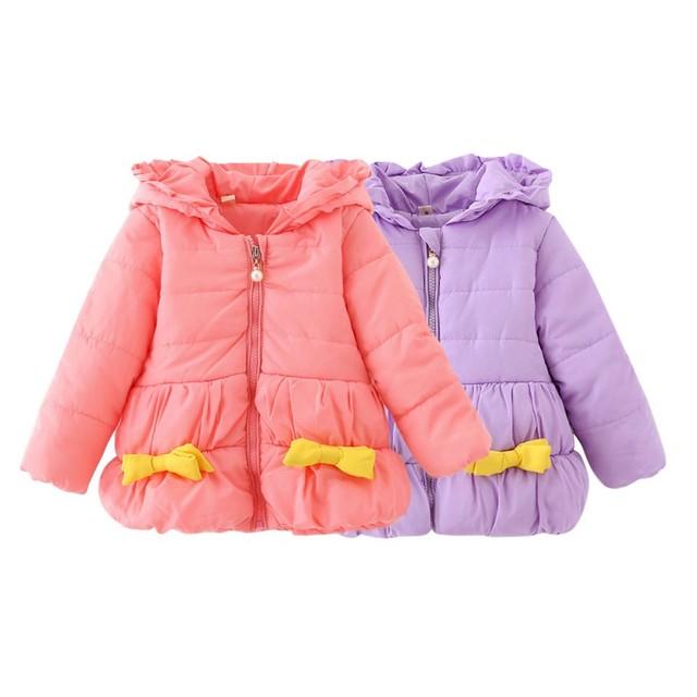 0-36 M Do Bebê Meninas Crianças Doce Arco Casaco Criança Inverno Jaqueta de Algodão Com Capuz Outwear SM3