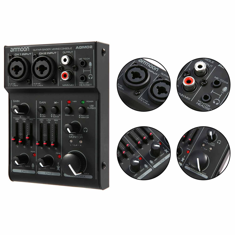 Ammoon AGM02 Мини 2-канальный звуковая карта микшерный пульт Цифровой аудиомикшер 2-полосный эквалайзер встроенный 48 V Phantom Мощность 5В USB Мощность ed