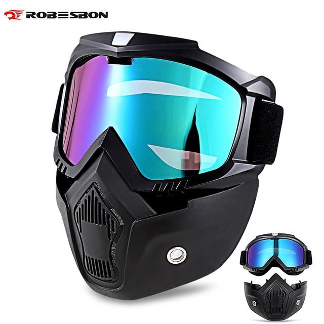 dae7efc6b8f6 ROBESBON Motorcycle Goggles with Face Mask Helmet Sunglasses Ski Bike Cycle  Motocross Motorbike Motor Detachable Goggle