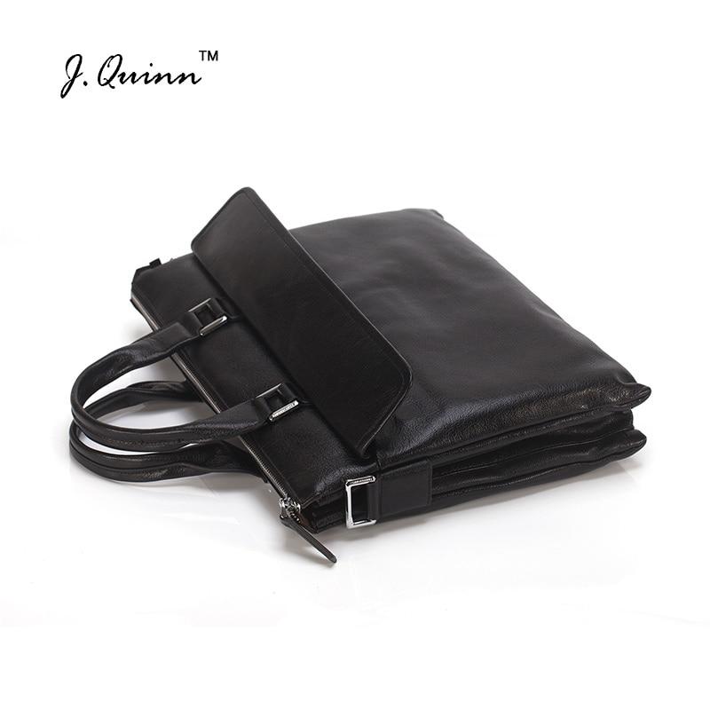 J.Quinn Men's Briefcase Genuine Leather Men Shoulder Messenger Bags Fashion Man Handbag Laptop Business Lawyer A4 Documents 2017