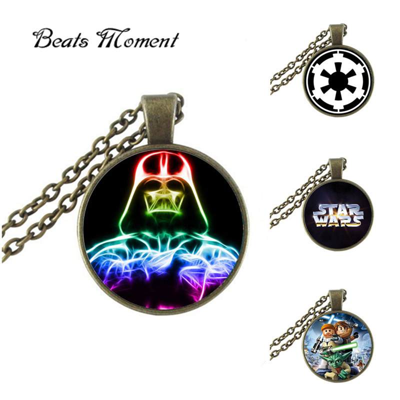 Star Wars Pendant Necklace B&M 2016 New Fashion Round Glass Necklace Star Wars Necklaces Pendants Vintage Women
