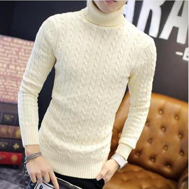 Hot new inverno 2016 moda casual versão Coreana dos homens engrossado conforto simples maré hedging camisola de gola alta cor sólida XL