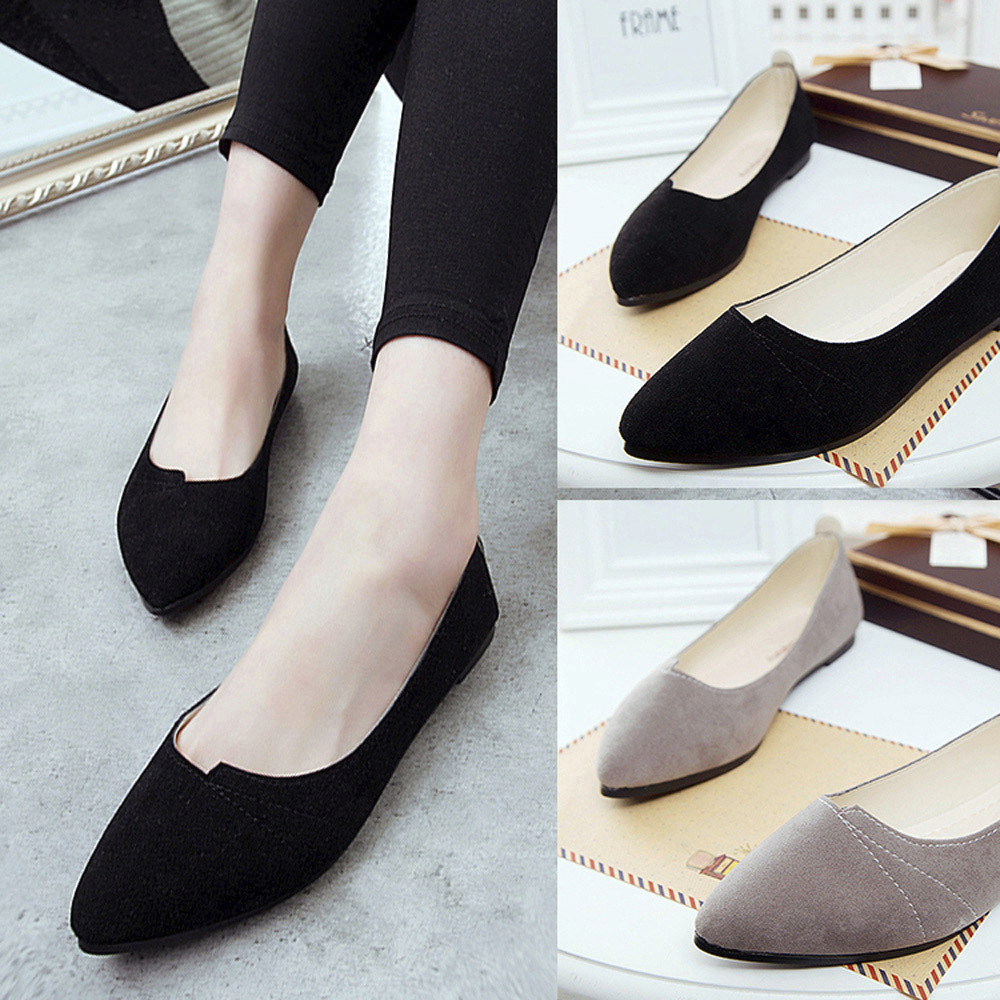 Dames Casual Pointu Pois Bout De Parti Souple Chaussures Confortable Slip Bateau Appartements gray Mujer Black Femmes Zapatos on Plat pC8tcZwBqB