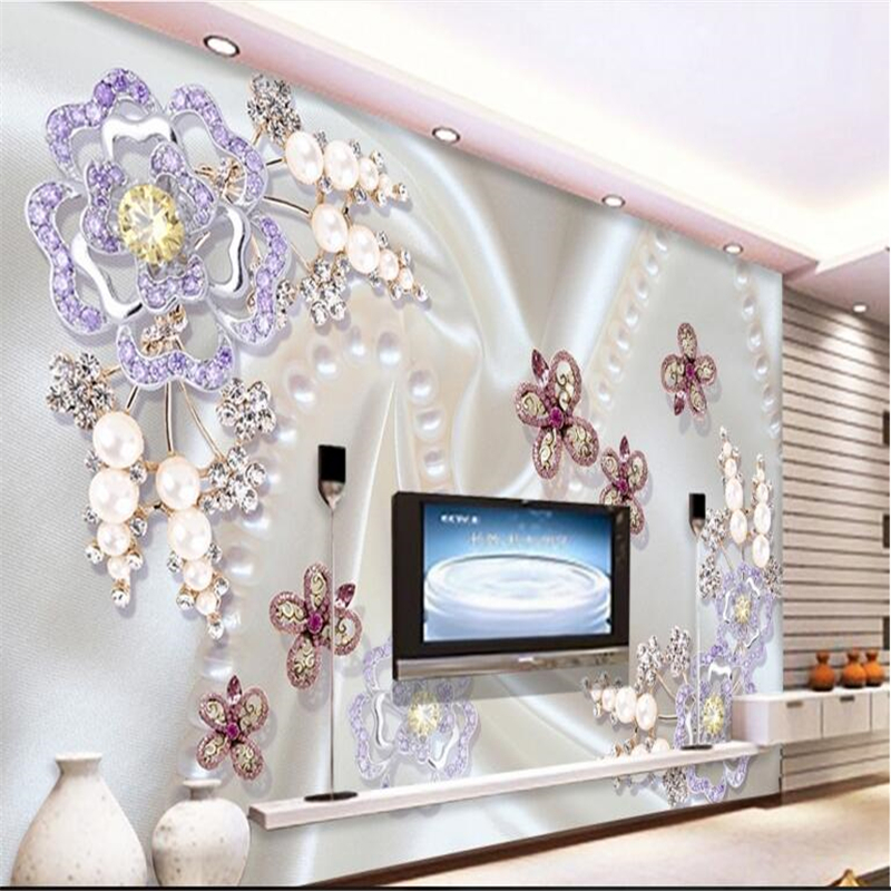 beibehang Wallpaper Large Mural Pearls Diamond Mosaic Flowers Dielianhua TV Wall Background Wall paper wallpaper for walls 3 d diamond wallpaper for walls 3 d mural wallpapers wall decor textile for living room diamond wall paper gold blue coffee