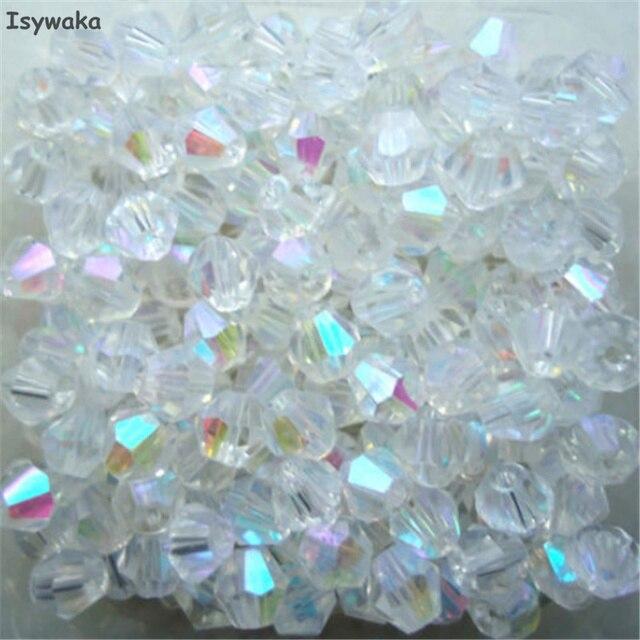 Isywaka Venda Branco AB Cor 100 pcs 4mm Bicone Áustria Cristal grânulos de charme Contas de Vidro Solto Spacer Bead para Jóias DIY fazendo