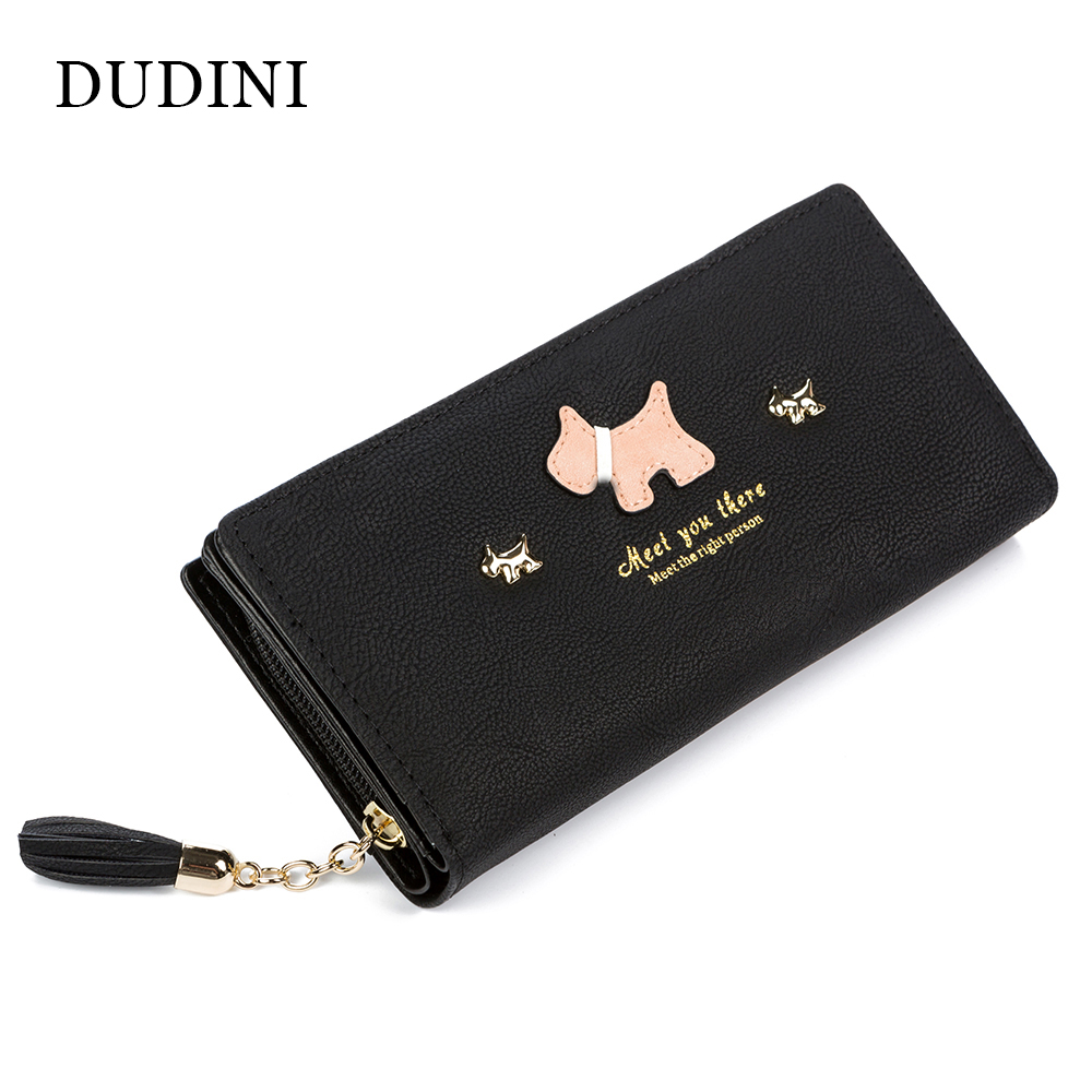 DUDINI Fashion Women Wallet Qute Dog Cartoon Tassels Scrub Ladies Wallet Splice Zipper Purse Clutch Cion Pocket Card Holder diy lovely baby big bow plaid headwrap for kids bowknot hair accessories children cotton headband girls gifts