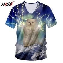 UJWI verano camiseta Hombres Nuevo v-cuello Slim Fit 3D camiseta imprimir  Flash y gatos divertidos 5XL 6XL Habiliment camiseta d. ebf319937fd