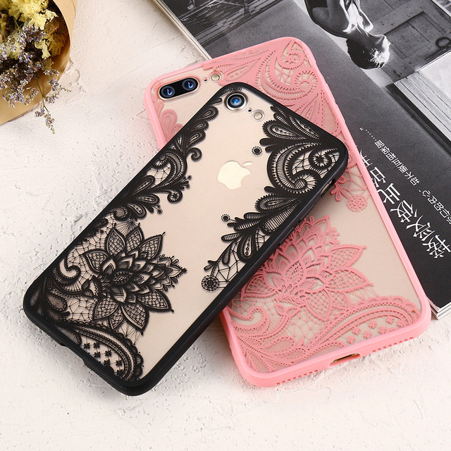 best authentic c57c6 39bdb DOEES Lace Flowers Phone Case For iPhone X 8 7 6S 6 Plus 5 5S SE Cover  Girly Sexy Clear Cover For iPhone XS Max XR 8 7 Plus Case