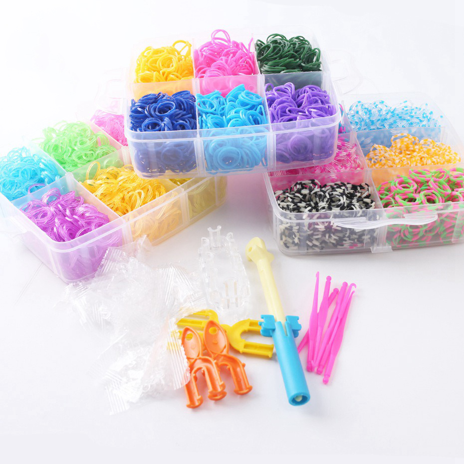 5400pcs DIY Toys Rubber Loom Bands Kit Kids DIY Bracelet Silicone Rubber Bands Bracelets Pendant Box Weave Charms Bracelet Toys