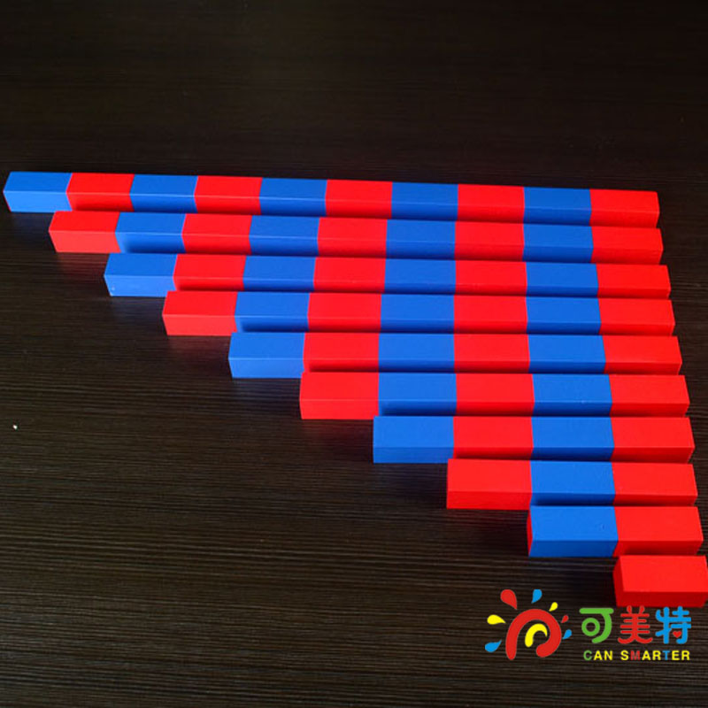 Montessori Materials Counting  Sticks Calculating Blue and Red Family Pack Beech Wood Math Tools  Early educational Can Smarter