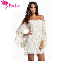 Cream Lace Lace Wedding Off The Shoulder Mini Dress 2013 LC2809 Long Sleeve Vestidos Casual Free