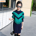 IAiRAY бренд 2017 зеленый кисточкой топ девушки свитер платье длинный свитер для девушки пуловеры девушки весной одежда дети верхняя одежда