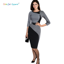 CA women's Elegant Colorblock Patchwork Tartan Check Plaid Wear To Work Business OL Party Stretch Dress CA243A