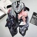 2017 новый бренд Женщины Шелковый шарф Пляж Шаль и Écharpe роскошный Wrap Новый Дизайнер шарфы Плюс Размер женский пляж украл