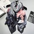 2017 nova marca Mulheres lenço De Seda Xale Praia e Echarpe Envoltório luxuoso de Novos lenços De Grife Plus Size praia feminino roubou