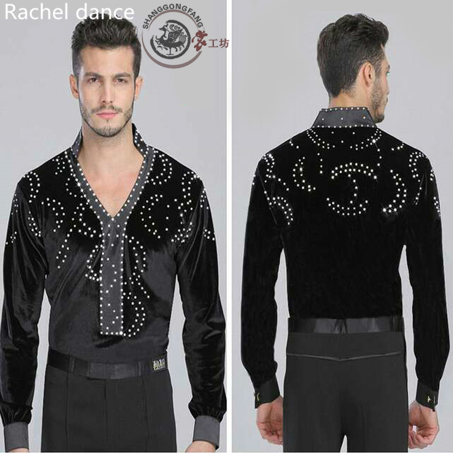 Show details for 2017 Factory Outlet Can Be Mixed Batch Men's Latin Dance Dress Black Long-Sleeved Diamond T-shirt Square Dance Dance Clothing