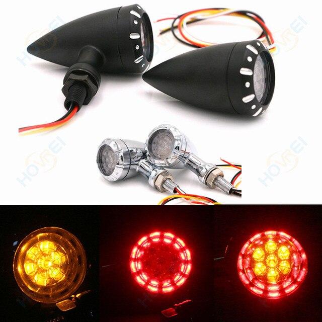 1 paire rétro moto 10mm balle frein à LED clignotant clignotant indicateur feu arrière clignotant lampe pour Harley honda