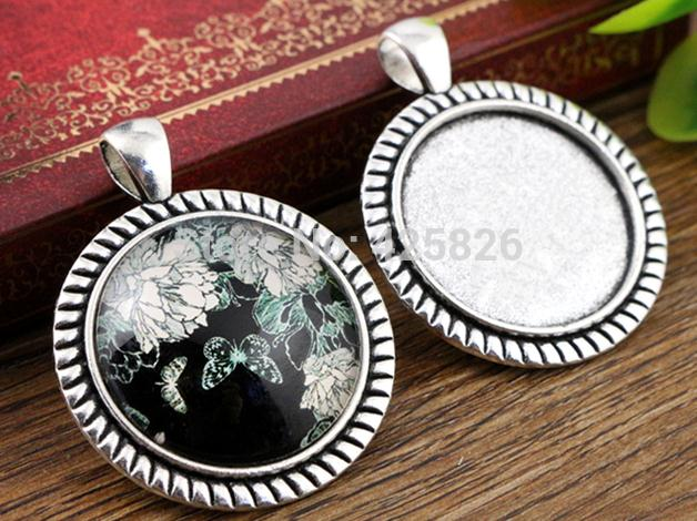 New Fashion  3pcs 25mm Inner Size Antique Silver Stripes Cameo Cabochon Base Setting Charms  Pendant (A5-21)
