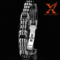 Mens Sport Wristband Stainless Steel Accessories 5 Layers Clasp Two Tone Black Mens Bracelets Bangle