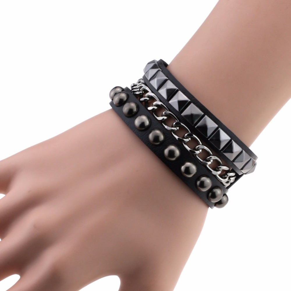 Cuff Bangle Bracelet: Multilayers Rock Spikes Rivet Chains Gothic Punk Wide Cuff
