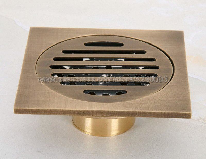 Antique Brass Square Floor Drain for Bathroom Kitchen w// Strainer Grate