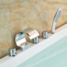 Three Handles Waterfall Bathtub Mixer faucet 5pcs Deck Mount Tub Filler ABS Pull Out Handshower