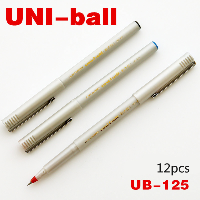 12pcs/Box UNI Pin UB-125 Gel Pen Set (Black Red Blue Ink) 0.5mm Waterproof Gel Pens Stylo Gel Office Student School Stationary 3pcs set kacogreen liquid ink gel pen plastic student office writing pens black blue red ink school supplies stationery