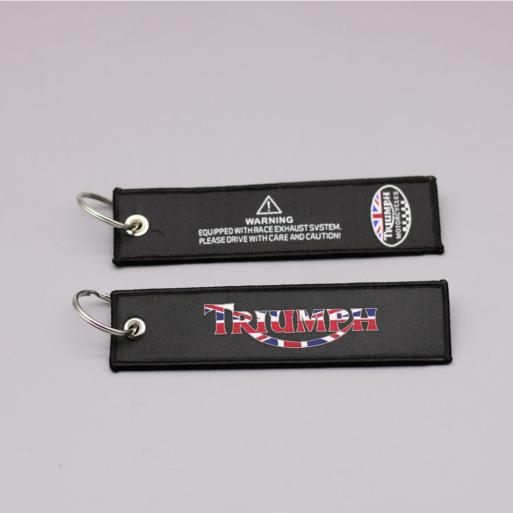 New Fashion Embroidery Key Holder Chain Triumph Collection Keychain for Triumph Daytona All Motorcycle Embroidered Badge Keyring