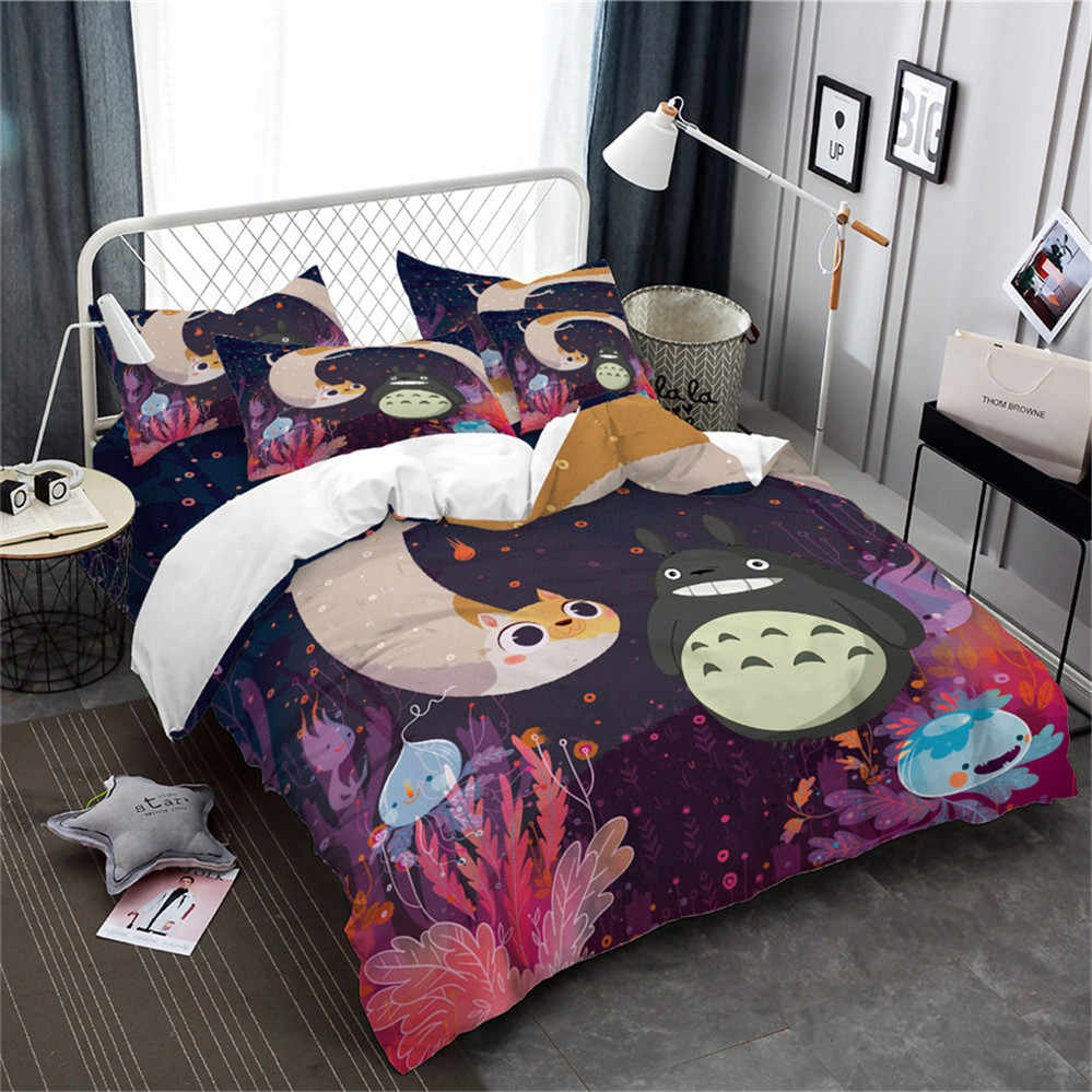 Kids Queen Bed Colorful Cartoon Bedding Set Totoro Jellyfish Print Duvet Cover Set Kids Cute Bedding King Queen Bed Cover 3pcs Home Decor D25
